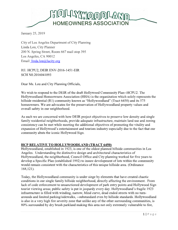 Response to the draft Environmental Report for the Hollywood